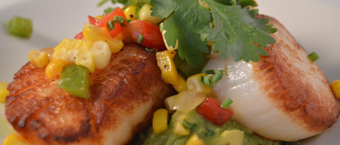 Seared Scallops with Sweet Corn and Avocado Appetizer